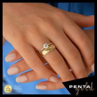 Penta Gold - 14 Ayar Altın Swarovski Kalemli Yüzük