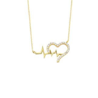 14 Ayar Altın Swarovski Kalp Ritim Kolye - Thumbnail