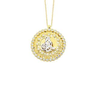 14 Ayar Altın Swarovski Kalpli Tuğra Kolye - Thumbnail