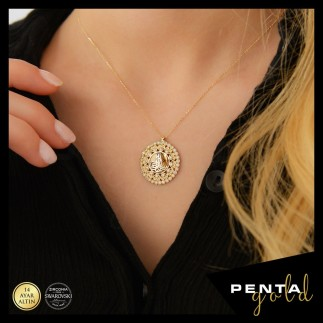 Penta Gold - 14 Ayar Altın Swarovski Kalpli Tuğra Kolye (1)