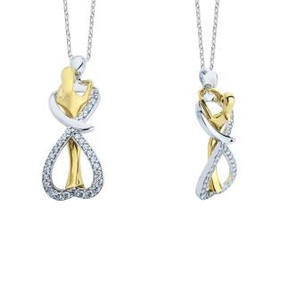14 Ayar Altın Swarovski Sonsuz Aşk Kolyesi - Thumbnail