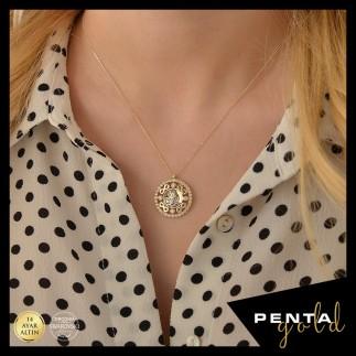 Penta Gold - 14 Ayar Altın Swarovski Sonsuzluk Tuğra Kolye (1)