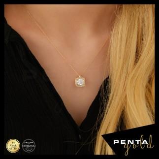 Penta Gold - 14 Ayar Altın Swarovski Taş Anturaj Kolye
