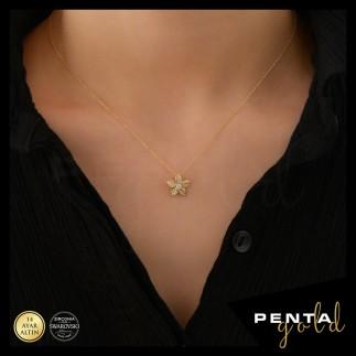 Penta Gold - 14 Ayar Altın Swarovski Taşlı Çiçek Kolye (1)
