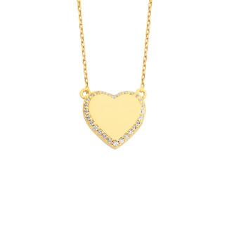 14 Ayar Altın Swarovski Taşlı Dolgu Kalpli Kolye - Thumbnail