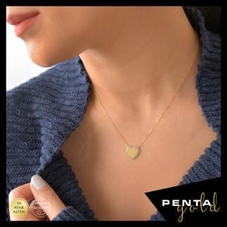 Penta Gold - 14 Ayar Altın Swarovski Taşlı Dolgu Kalpli Kolye (1)