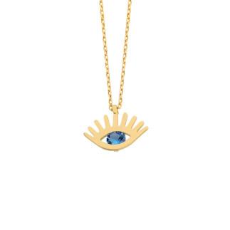 14 Ayar Altın Swarovski Taşlı Göz Kolye - Thumbnail
