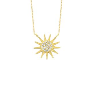 14 Ayar Altın Swarovski Taşlı Güneş Kolye - Thumbnail