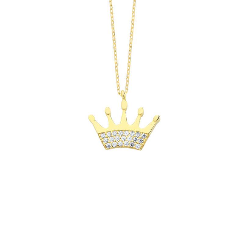 14 Ayar Altın Swarovski Taşlı Kral Tacı Kolye