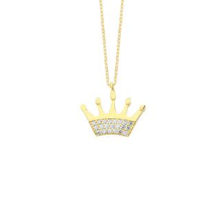14 Ayar Altın Swarovski Taşlı Kral Tacı Kolye - Thumbnail