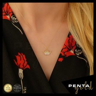 Penta Gold - 14 Ayar Altın Swarovski Taşlı Kral Tacı Kolye