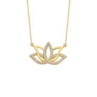 14 Ayar Altın Swarovski Taşlı Lotus Çiçeği Kolye - Thumbnail