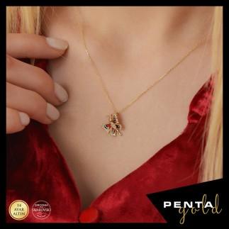 Penta Gold - 14 Ayar Altın Swarovski Taşlı Mineli Kelebek Kolye