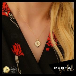 Penta Gold - 14 Ayar Altın Swarovski Taşlı Tuğra Kolye