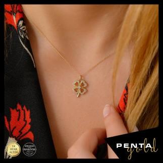 Penta Gold - 14 Ayar Altın Swarovski Taşlı Yonca Kolye