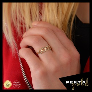 Penta Gold - 14 Ayar Altın Swarovski Taşlı Yuvarlak Halat Yüzük