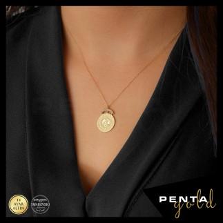 Penta Gold - 14 Ayar Altın Swarovski Tuğra Kolye