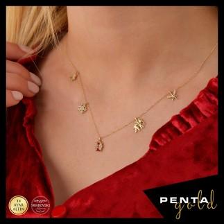 Penta Gold - 14 Ayar Altın Swarovski Uğur Böcekli Şans Kolye