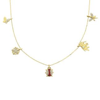 14 Ayar Altın Swarovski Uğur Böcekli Şans Kolye - Thumbnail