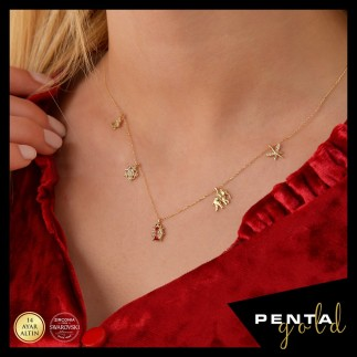 Penta Gold - 14 Ayar Altın Swarovski Uğur Böcekli Şans Kolye (1)