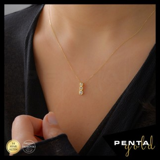 Penta Gold - 14 Ayar Altın Tria Swarovski Kolye (1)