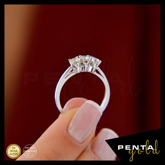 Penta Gold - 14 Ayar Altın Üçtaş Yüzük 0,50 ct. Swarovski Taşlı