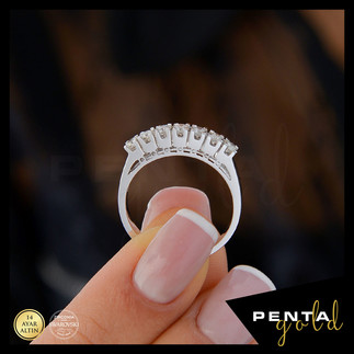 Penta Gold - 14 Ayar Altın Yedi Taş Yüzük 0,53 ct. Swarovski Taşlı