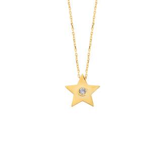 14 Ayar Altın Yıldız Swarovski Taşlı Kolye - Thumbnail