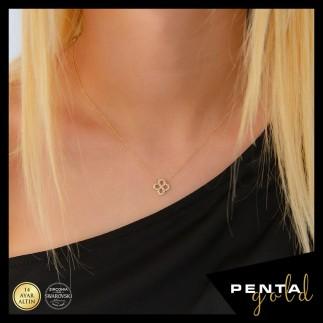 Penta Gold - 14 Ayar Altın Yonca Kolye Swarovski Taşlı