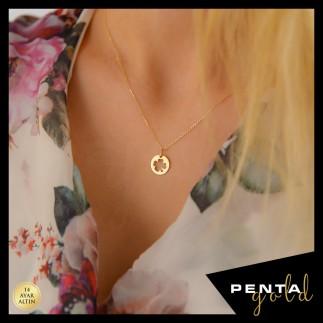 Penta Gold - 14 Ayar Altın Yonca Levha Kolye (1)