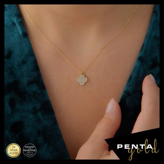 Penta Gold - 14 Ayar Altın Yonca Swarovski Kolye