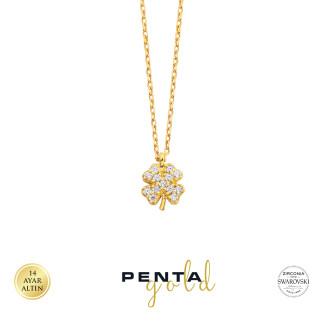 Penta Gold - 14 Ayar Altın Yonca Swarovski Taşlı Kolye (1)