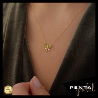 Penta Gold - 14 Ayar Altın Yusufçuk Doğal Taşlı Kolye