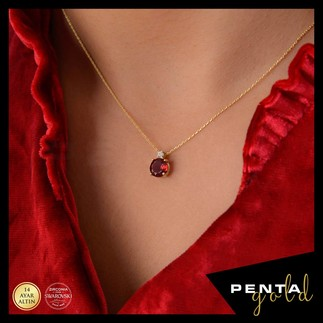 Penta Gold - 14 Ayar Altın Yuvarlak Garnet Kolye