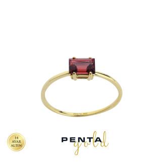 Penta Gold - 14 Ayar Doğal Taşlı Baget Altın Yüzük