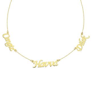 Penta Gold - 14 Ayar Üç İsimli Altın Kolye