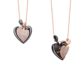 14 Şubat Kalpli İsimli Gümüş Kolye - Thumbnail