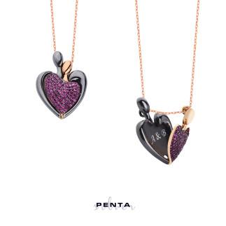 Penta Silver - 14 Şubat Kalpli İsimli Gümüş Kolye