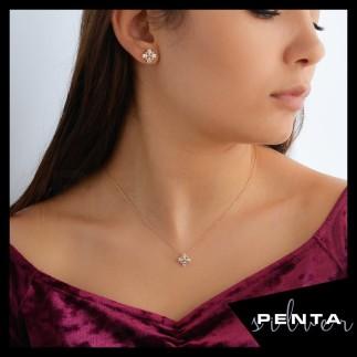 Penta Silver - 4 Yonca Damla Gümüş Takı Seti