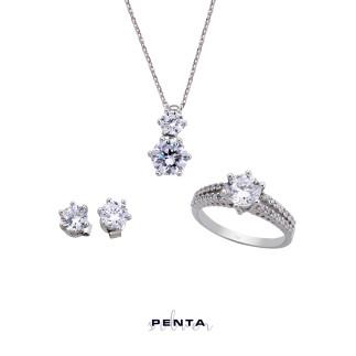 Penta Silver - 6 Tırnak Pırlanta Montür Gümüş Takı Seti (1)