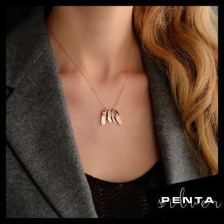 Penta Silver - Aile Mineli Terlik Gümüş Kolye (1)