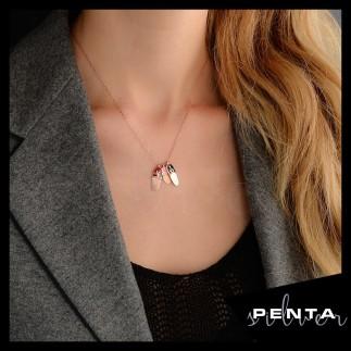 Penta Silver - Aile Mineli Terlik Kız Çocuk Gümüş Kolye