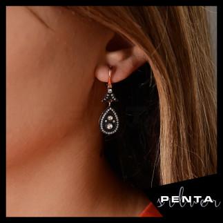 Penta Silver - Anturaj Damla Elmas Montür Gümüş Küpe (1)