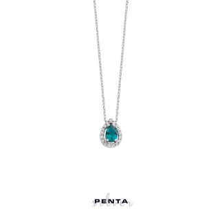 Penta Silver - Anturaj Damla Taşlı Gümüş Kolye