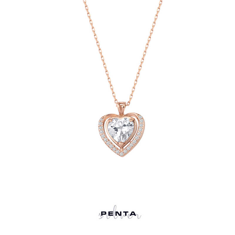 Anturaj Kalp Taşlı Gümüş Kolye
