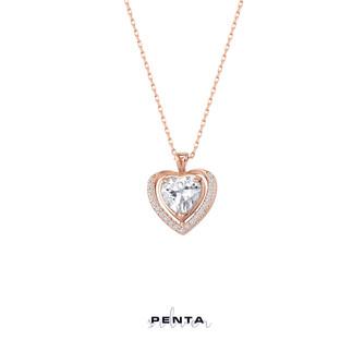 Penta Silver - Anturaj Kalp Taşlı Gümüş Kolye