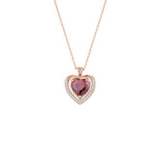 Anturaj Kalp Taşlı Gümüş Kolye - Thumbnail