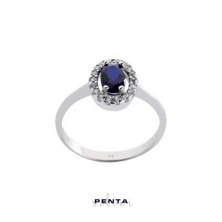 Penta Silver - Anturaj Oval Taşlı Gümüş Yüzük