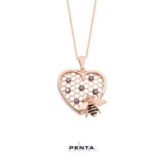 Arı Peteği Kalpli Gümüş Kolye - Thumbnail