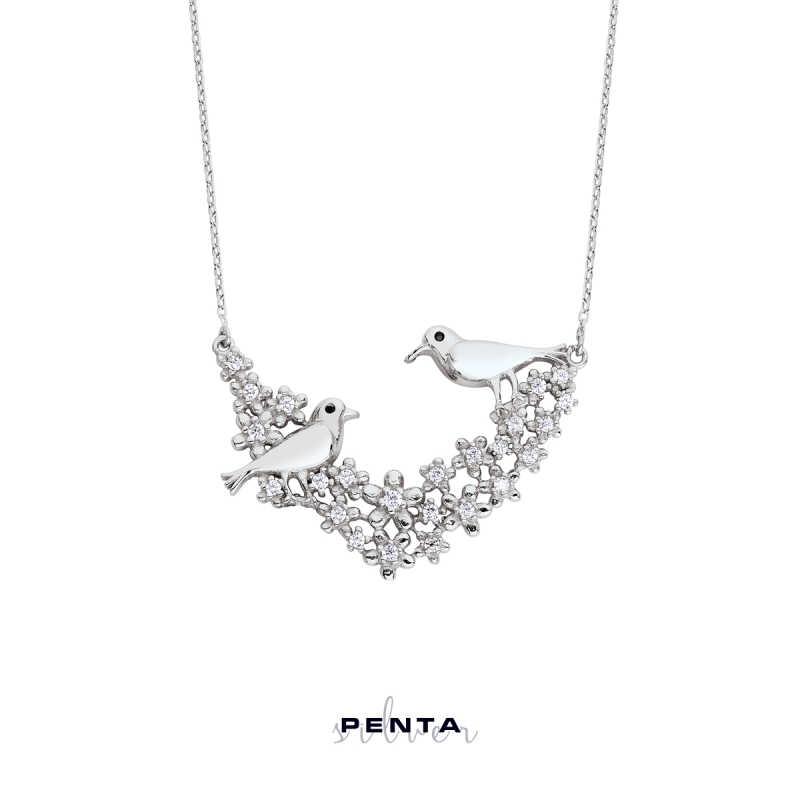 Aşk İncelik İster Kuşlu Gümüş Kolye